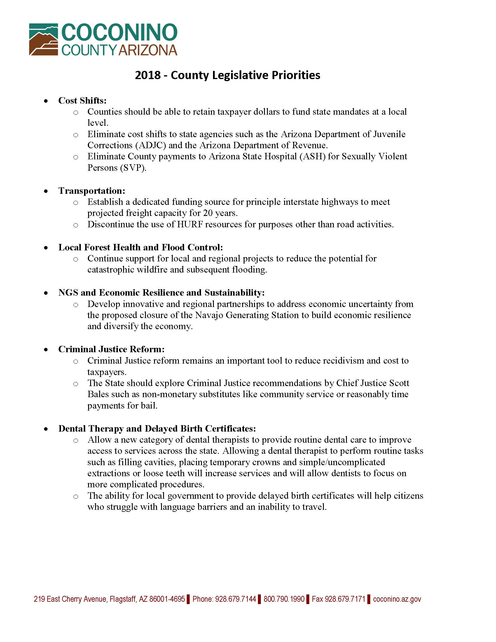 2018-Coconino County State- Legislative Priorities