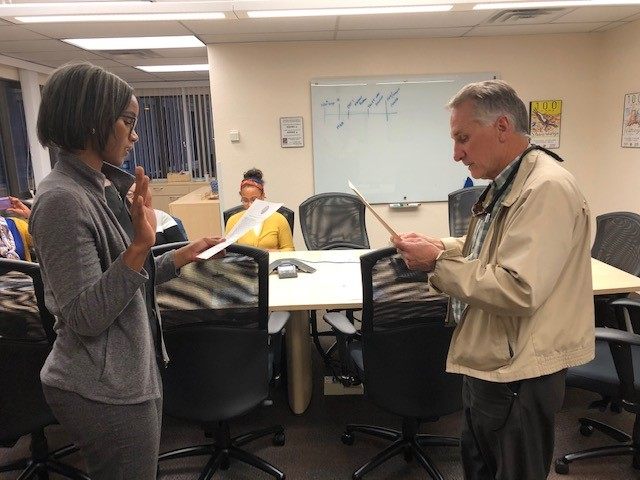 Supervisor Matt Ryan swearing in new AAAC member, Melisa Tunley on November 13, 2019