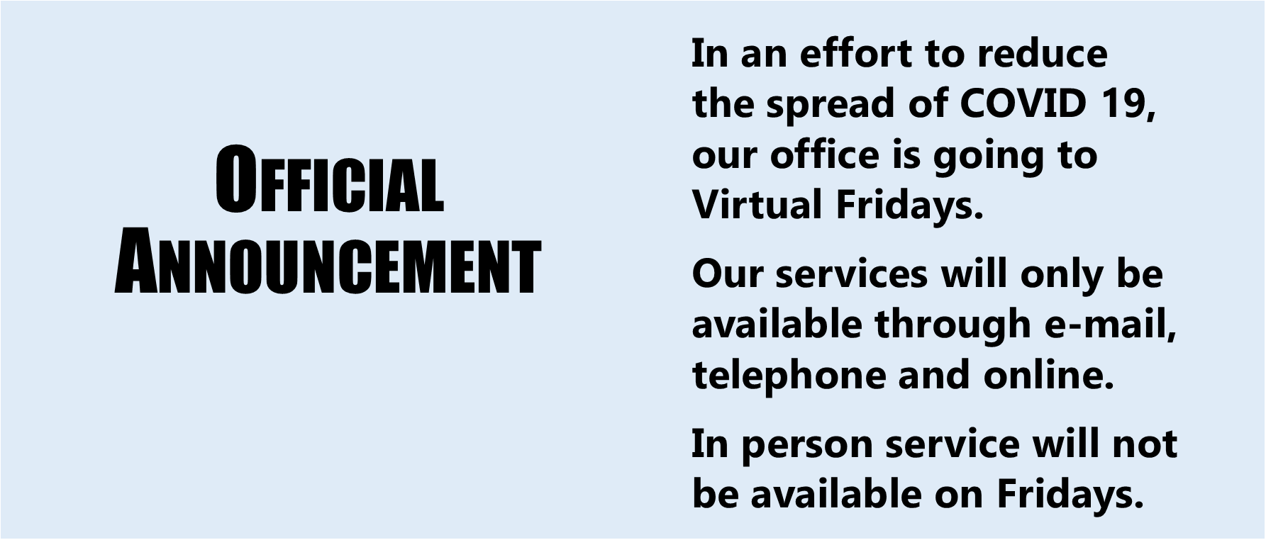 Virtual Friday Announcement