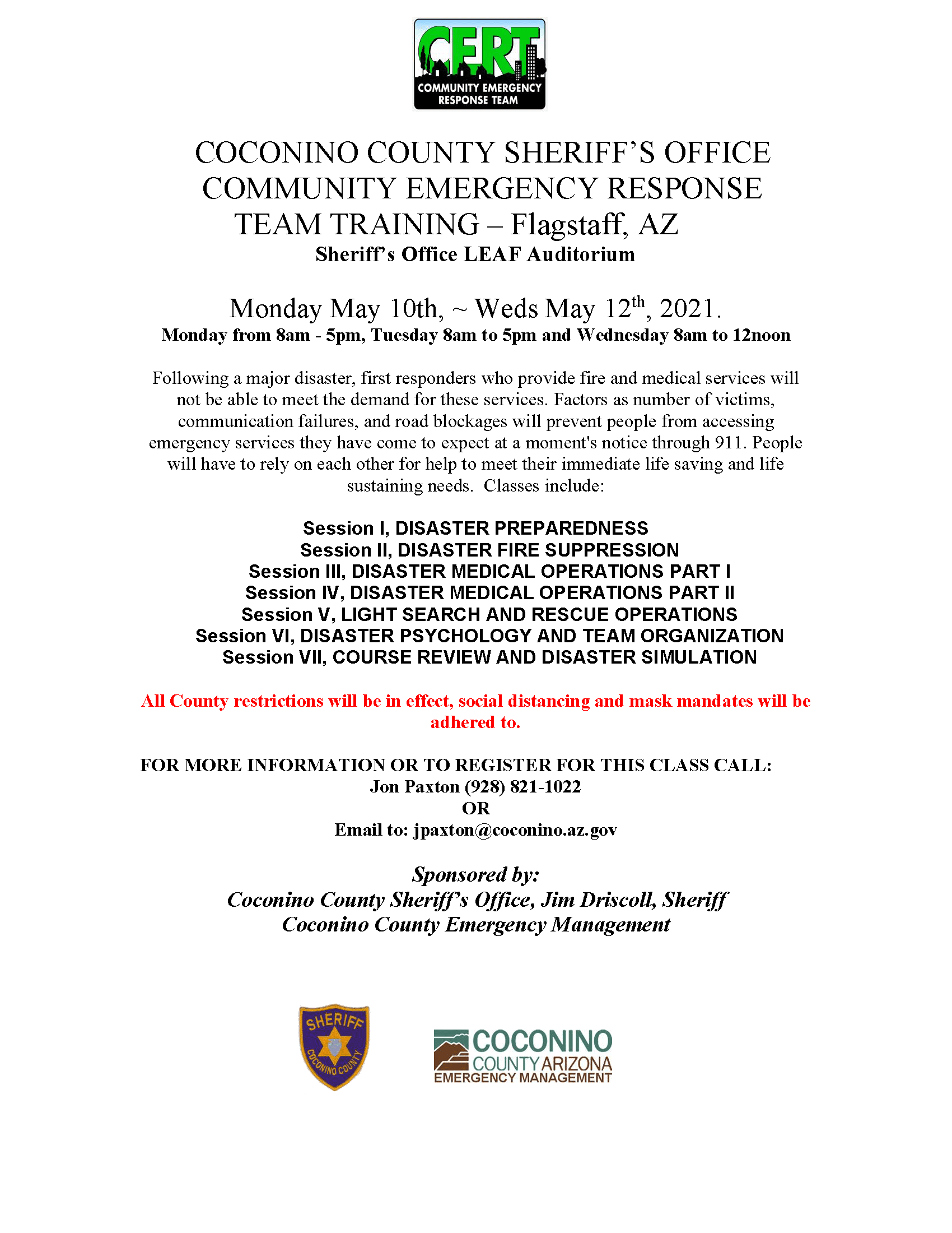 Flagstaff May 2021  CERT Class Flyer